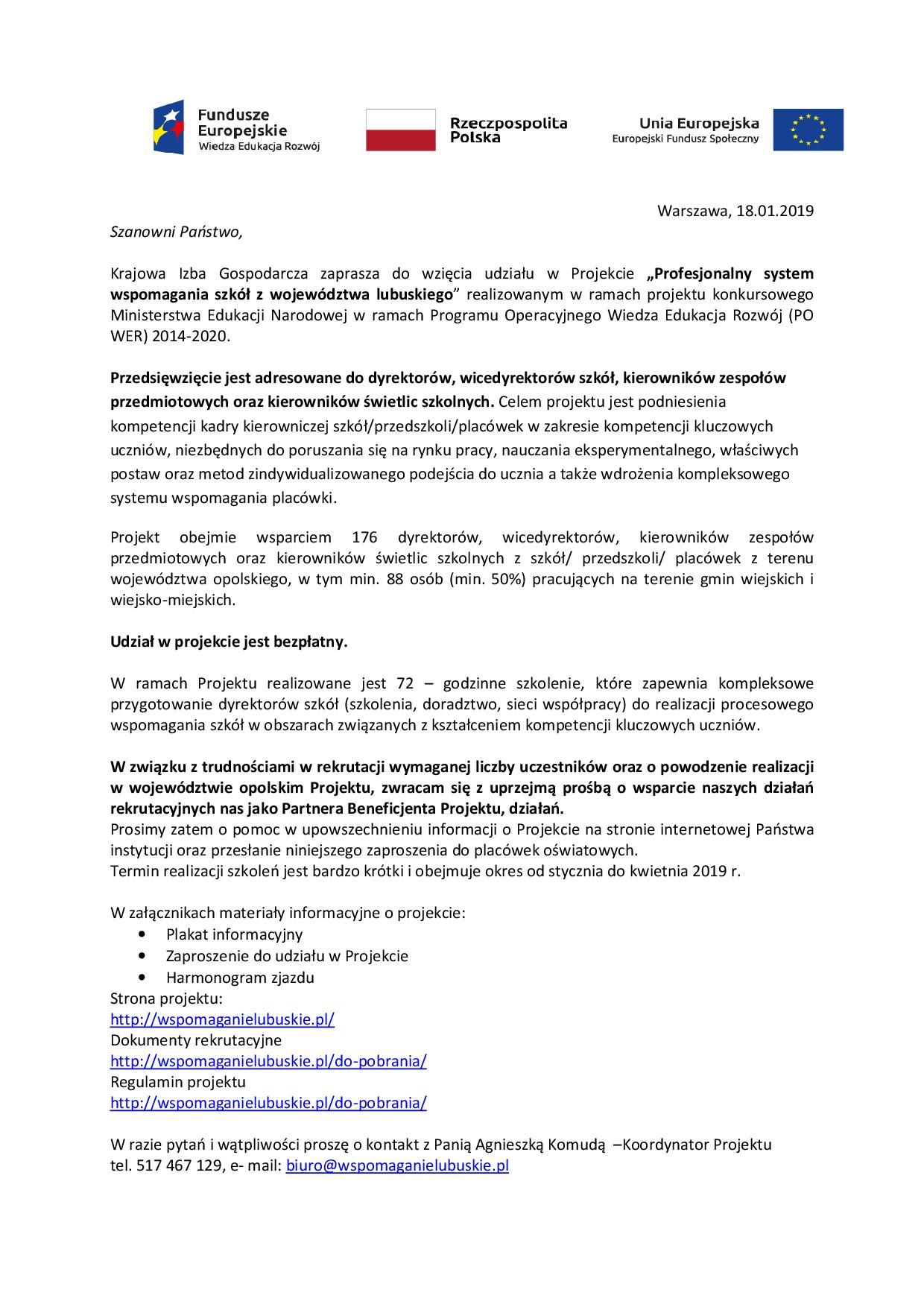 Zaproszenie Projekt Dofinansowany Przez Men Gmina Gubin